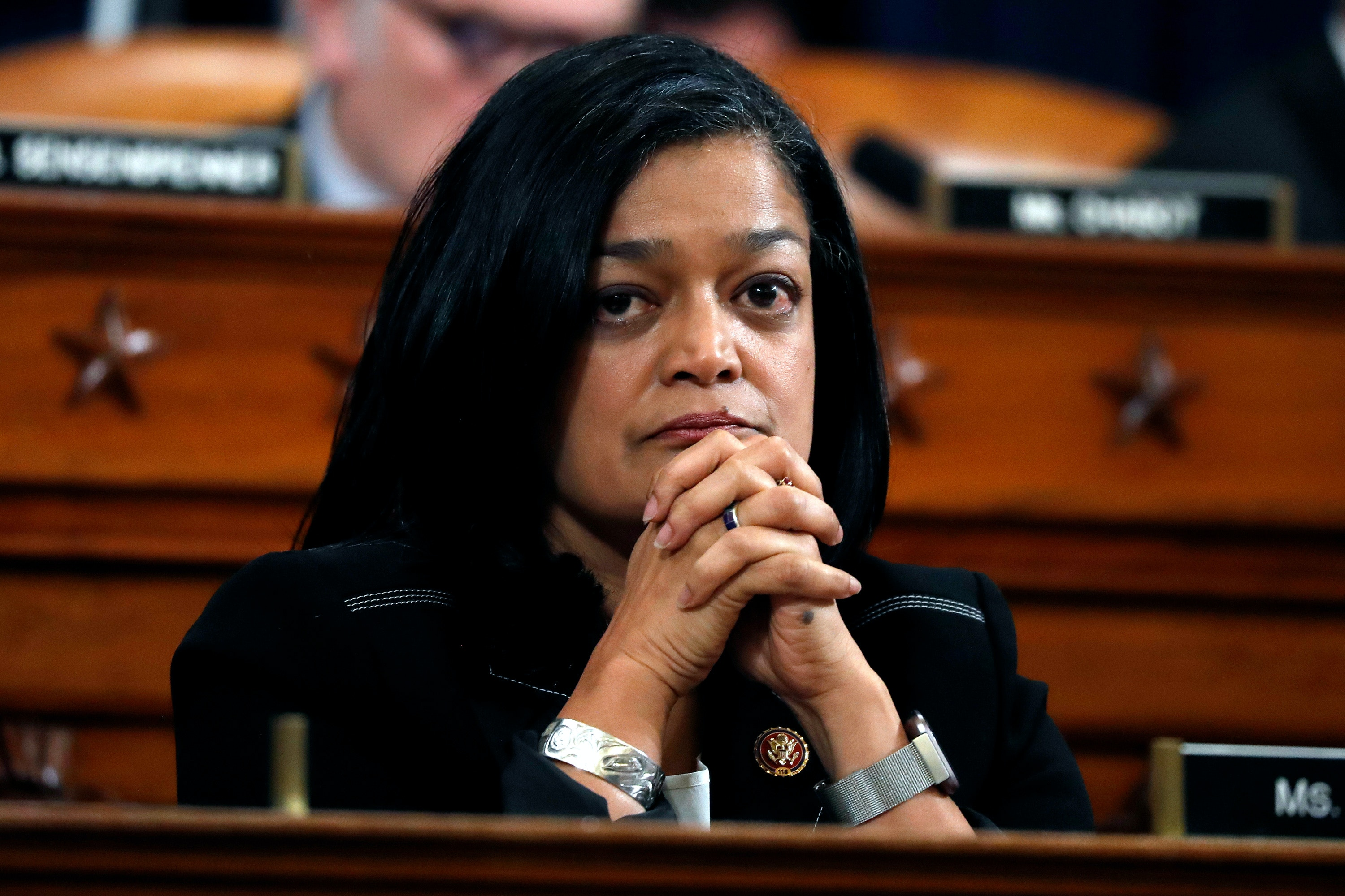 Rep. Pramila Jayapal, D-Wash., listens during a House Judiciary Committee markup of the articles of impeachment against President Donald Trump, Wednesday, Dec. 11, 2019, on Capitol Hill in Washington. (AP Photo/Jacquelyn Martin)