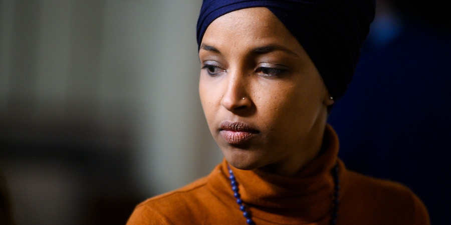 UNITED STATES - FEBRUARY 11: Rep. Ilhan Omar, D-Minn., leaves a meeting of the House Democratic Caucus in the Capitol on Tuesday, February 11, 2020. (Photo By Tom Williams/CQ Roll Call via AP Images)