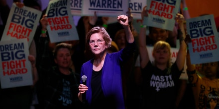 Democratic presidential candidate Elizabeth Warren speaks at a campaign rally Sunday, Feb. 23, 2020, in Denver. (AP Photo/David Zalubowski)