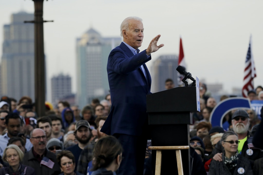 Democratic presidential candidate, former Vice President Joe Biden speaks during a campaign rally Saturday, March 7, 2020, in Kansas City, Mo. (AP Photo/Charlie Riedel)