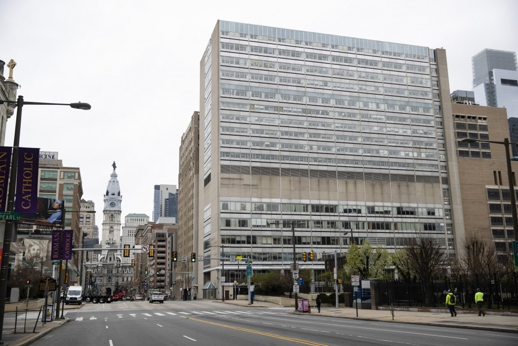 Shown is the shuttered Hahnemann Hospital in Philadelphia, Wednesday, March 25, 2020. (AP Photo/Matt Rourke)