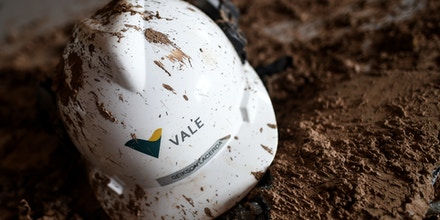 Picture of a helmet seen at an office of the mining company Vale, taken 20 days after the rupture of a tailings dam in Corrego do Feijao, near Brumadinho, in the Brazilian state of Minas Gerais, on February 13, 2019. - Communities were devastated by a collapse of a dam that killed at least 165 people after more than two weeks of searches, with 156 missing. Those listed as missing are presumed dead, but not yet located under the layers of muddy mining waste released when the tailings dam broke apart in the town of Brumadinho on January 25. (Photo by DOUGLAS MAGNO / AFP) (Photo credit should read DOUGLAS MAGNO/AFP via Getty Images)