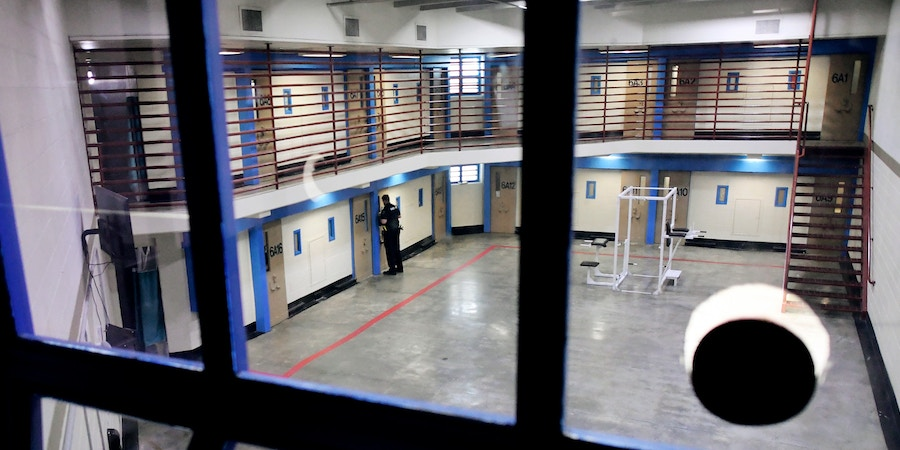 CENTENNIAL CO - JUNE 20: A depute works in a pod at Arapahoe County Detention Center where up to three inmates share a cell on June 20, 2019 in Centennial , Colorado. New Arapahoe County Sheriff Tyler Brown is saying the county needs to build a new detention facility because of crowding and other maintenance issues. (Photo by RJ Sangosti/The Denver Post)