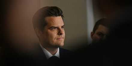 BALTIMORE, MD - DECEMBER 13: Rep. Matt Gaetz (R-FL)  listens to fellow republican congressmen and women during a press briefing after the House panel voteed on articles of impeachment of President Donald Trump in Washington, D.C., December 13, 2019. A more than 14-hour-long debate about the presidents alleged abuse of power and obstruction of Congress was finally ended by Committee Chairman Jerrold Nadler (D-N.Y.) late last night. (Astrid Riecken For The Washington Post via Getty Images)