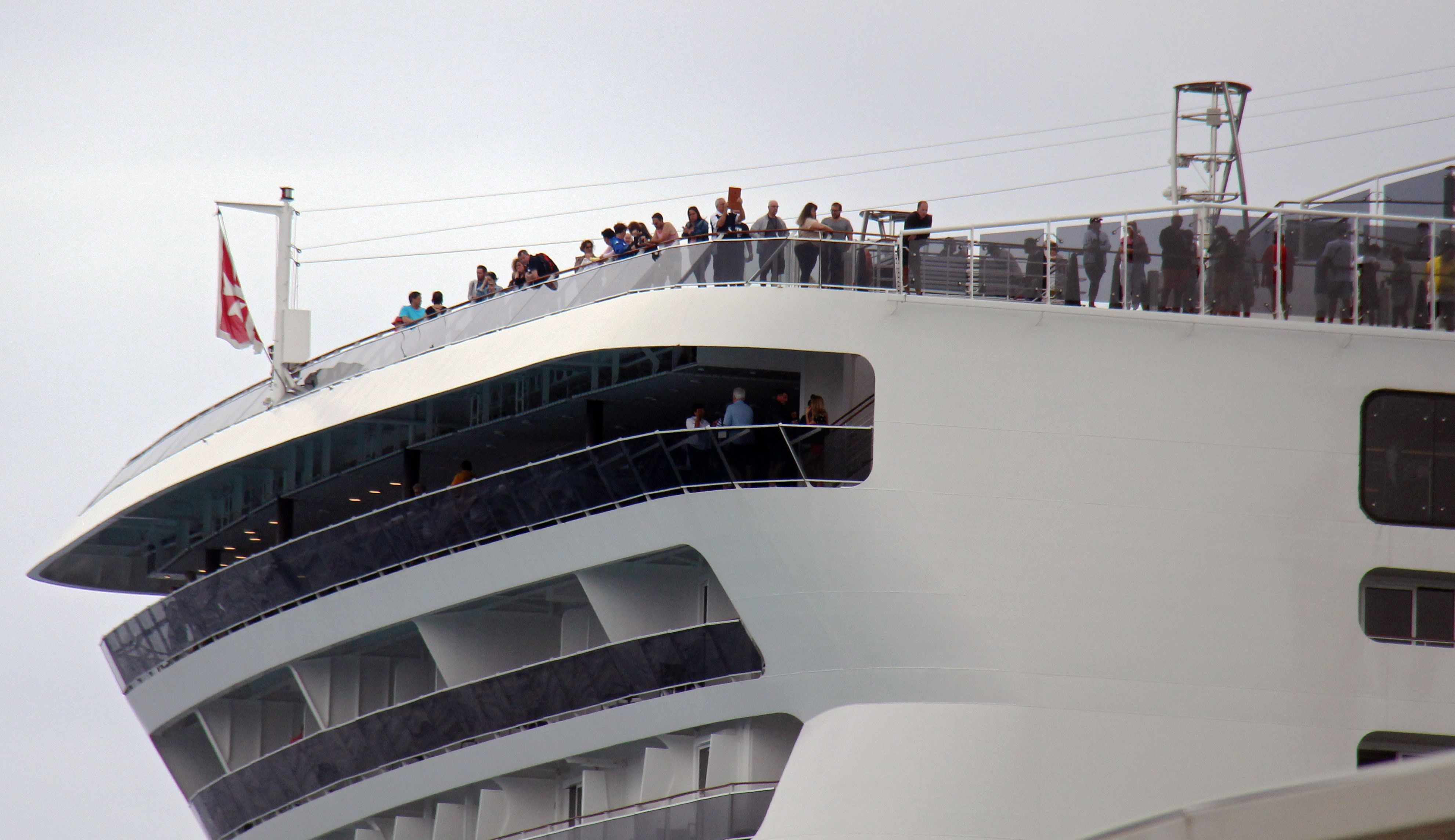 Passengers remain onboard the MSC Meraviglia cruise ship in Cozumel, Mexico, on February 27, 2020. - A cruise carrying 6,000 people which was turned away by Jamaica and the Cayman Islands after a crew member tested positive for flu has docked in Mexico. (Photo by JOSE CASTILLO / AFP) (Photo by JOSE CASTILLO/AFP via Getty Images)