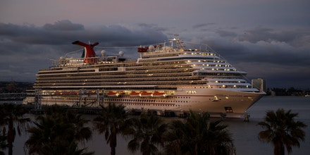 The Carnival Corp. Panorama cruise ship sits docked in Long Beach, California, U.S., on Saturday, March, 7, 2020. The Panorama was cleared to sail early Sunday after officials delayed its debarkation process while a passenger was tested for the coronavirus, which came back negative. Photographer: Patrick T. Fallon/Bloomberg via Getty Images