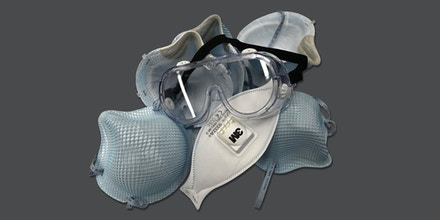 Protective N-95 face masks and goggle.