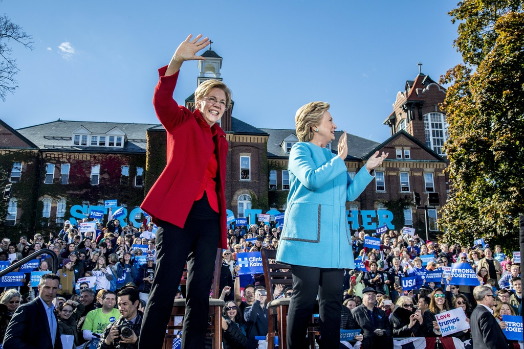 Hillary Clinton held a campaign rally with Sen. Elizabeth Warren in Manchester, NH, October 24, 2016.