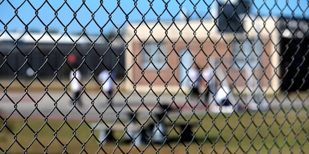 Detainees in the yard during a media tour of the Winn Correctional Center in Winnfield, La., on Sept. 26, 2019.