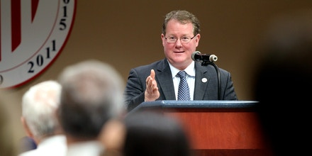 Tupelo Mayor Jason Shelton gives his State of the City address Tuesday, March 3, 2020, at City Hall to residents and city employees and officials. ( Adam Robison/The Northeast Mississippi Daily Journal via AP)