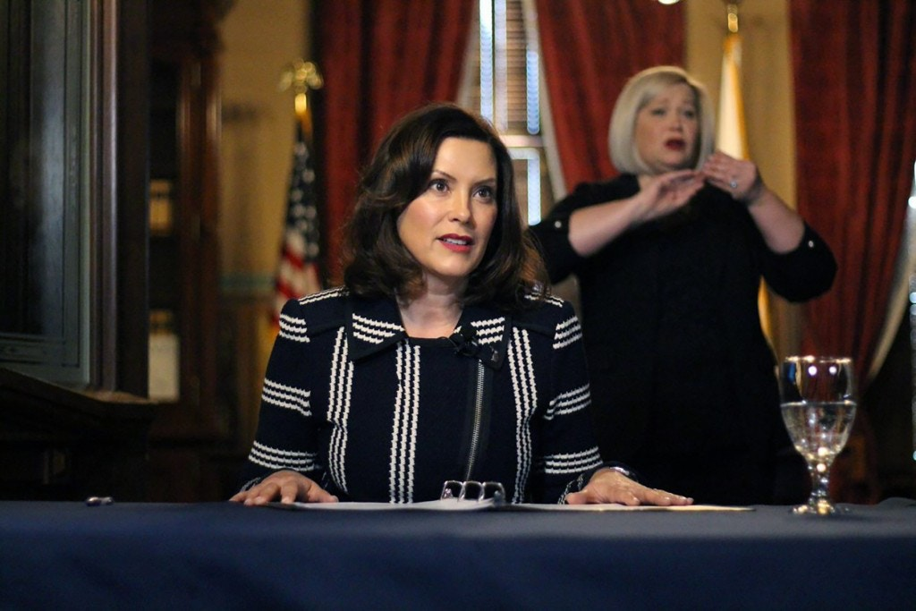 In this photo provided by the Michigan Office of the Governor, Michigan Gov. Gretchen Whitmer addresses the state during a speech in Lansing, Mich., Thursday, April 2, 2020. The governor ordered that students in the state will not return to K-12 school buildings the rest of the academic year due to the coronavirus pandemic and Trump Waffles on Coronavirus Aid to Michigan Because of Sexisminstead will learn remotely. All public and private schools are more than halfway through a four-week shutdown ordered by Whitmer to combat the outbreak. (Michigan Office of the Governor via AP)