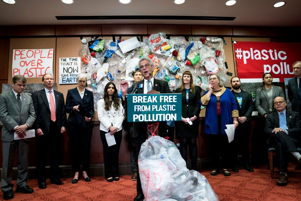 Rep. Alan Lowenthal speaks at a news conference for the Break Free From Plastic Pollution Act on Feb. 11, 2020, in Washington, D.C. Lawmakers, advocates, and concerned citizens spoke about the exploding crisis of plastic pollution in the United States.