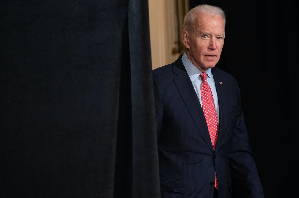 Former US Vice President and Democratic presidential hopeful Joe Biden arrives to speak about COVID-19, known as the Coronavirus, during a press event in Wilmington, Delaware on March 12, 2020. (Photo by SAUL LOEB / AFP) (Photo by SAUL LOEB/AFP via Getty Images)