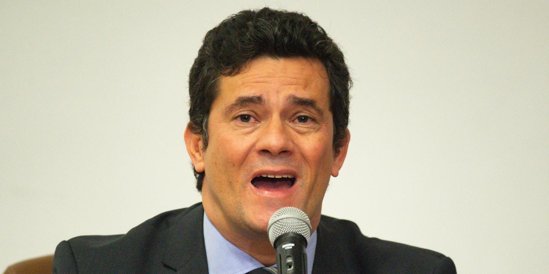 Sergio Moro anúncia sua renúncia ao cargo de ministro da justiça durante coletiva de imprensa em Brasília, dia 24 de abril.