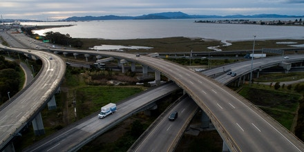 OAKLAND, CA - MARCH 17: Light traffic is seen in this aerial view of the maze and the approach to the Bay Bridge in Oakland, Calif., on Tuesday, March 17, 2020. Seven Bay Area counties are locked down in an unprecedented shelter-in-place order from Gov. Gavin Newsom because of the coronavirus spread. (Jane Tyska/Digital First Media/East Bay Times via Getty Images)