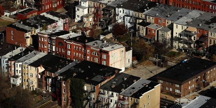BALTIMORE, MD - DECEMBER 01: An aerial view of Baltimore City row homes on December 1, 2016 in Baltimore, Maryland. (Photo by Patrick Smith/Getty Images)