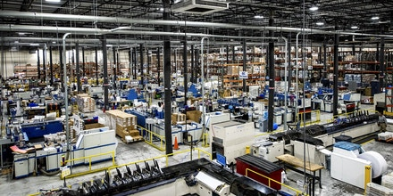 Printing machines stand at the Broadridge Financial Solutions Inc. facility in Brentwood, New York, U.S., on Monday, June 4, 2018. Broadridge Financial Solutions'Adam Amsterdam, corporate vice president, sold $1.18 million of shares, according to a filing with the U.S. Securities & Exchange Commission. Amsterdam sold the shares after Broadridge gained 8.8 percent in the past month. Photographer: Johnny Milano/Bloomberg via Getty Images