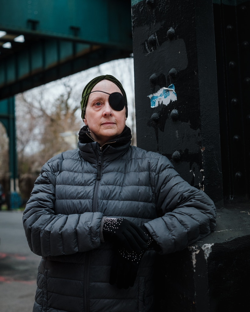 Victoria Wolf, 66, poses for a portrait near East New York, Brooklyn. live in a women's homeless shelter in the East New York, where she says the close living quarters with others make the COVID-19 pandemic especially worrisome for people living in city shelters.