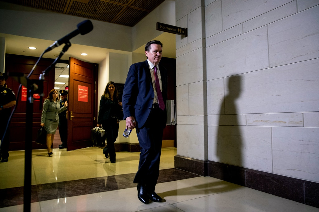 Michael Atkinson, the inspector general for the intelligence community, departs a closed-door hearing before the House Intelligence Committee in Washington on Friday, Oct. 4, 2019. (Anna Moneymaker/The New York Times)