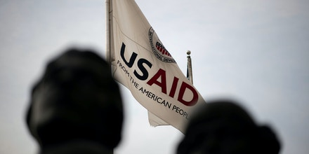 An Agency for International Development flag flies in front of USAID headquarters in Washington, D.C., as seen on September 10, 2019. (Graeme Sloan/Sipa USA)(Sipa via AP Images)