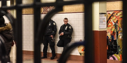 NEW YORK, NY - NOVEMBER 14: Two members of the New York City Police Department patrol in a subway station on November 14, 2019 in New York City. The MTA, which oversees the New York City subway system, the largest in the United States, is reconsidering a plan to hire 500 new transit police officers as they face a $1 billion budget deficit. (Photo by Stephanie Keith/Getty Images)