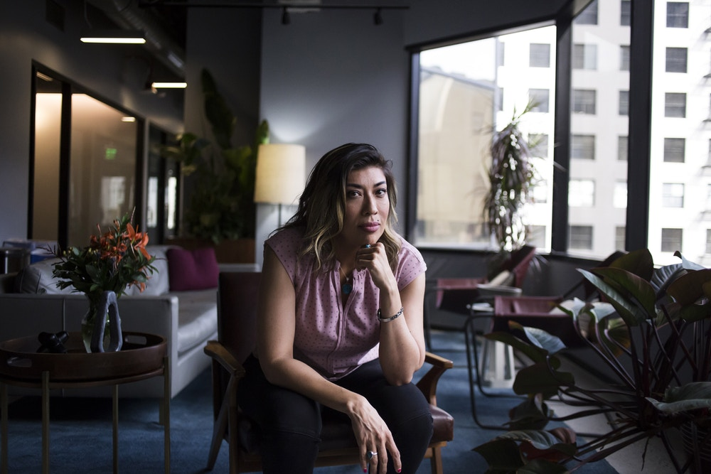 LOS ANGELES, CA - MAY 25, 2019: Lucy Flores in the lobby of the office building where she works in downtown Los Angeles, CA., on Saturday, May 25, 2019. (Jenna Schoenefeld for The Washington Post via Getty Images)