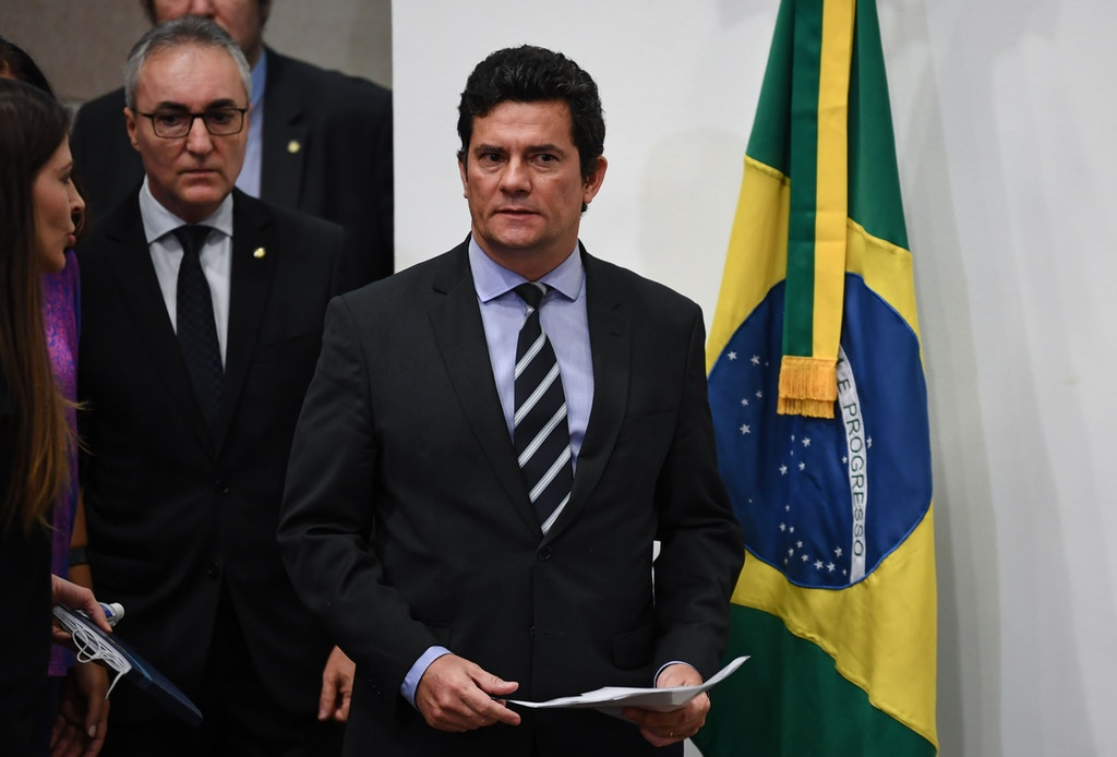 Brazilian Minister of Justice and Public Security, Sergio Moro, arrives to deliver a press conference at Minister of Justice, in Brasilia, on April 24, 2020. (Photo by EVARISTO SA / AFP) (Photo by EVARISTO SA/AFP via Getty Images)