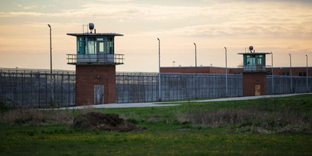 Guard towers look over the prison courtyard at Marion Correctional Institution on April 27, 2020. - A massive wave of coronavirus infections is blasting through the world's largest prison population in the United States even as officials begin opening up their economies, saying the disease has plateaued. One prison in Marion, Ohio has become the most intensely infected institution across the country, with more than 80 percent of its nearly 2,500 inmates, and 175 staff on top of that, testing positive for COVID-19. (Photo by MEGAN JELINGER / Megan JELINGER / AFP / AFP) (Photo by MEGAN JELINGER/Megan JELINGER / AFP/AFP via Getty Images)