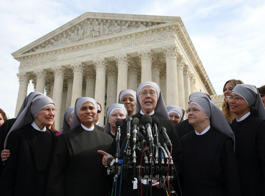 WASHINGTON, DC - MARCH 23:  Mother Loraine Marie Maguire, (C), of the Little Sisters of the Poor, speaks to the media after aruments at the US Supreme Court, March 23, 2016 in Washington, DC. Today the high court heard arguments in Little Sisters v. Burwell, which will examine whether the governments new health care regulation will require the Little Sisters to change their healthcare plan, to other services that violate Catholic teaching.  (Photo by Mark Wilson/Getty Images)