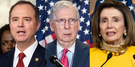 House Intelligence Committee Chair Rep. Adam Schiff, left; Sen. Majority Leader Mitch McConnell, center; and House Speaker Nancy Pelosi, right.