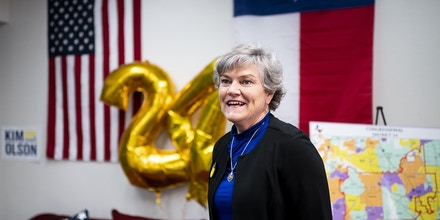 UNITED STATES - FEBRUARY 24: Kim Olson, candidate in the Texas 24 Congressional District, stands in front of two and four shaped balloons as well as  American and Texas flags in her campaign office in Euless, Texas on Monday, Feb. 24, 2020. (Photo By Bill Clark/CQ-Roll Call, Inc via Getty Images)