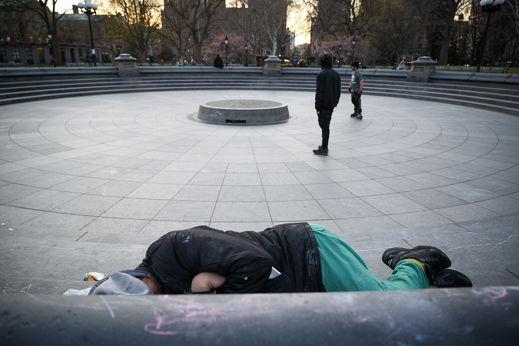 NEW YORK, USA - APRIL 08: A homeless person sleeps on the ground at an area, used for skateboarding, in Manhattan, New York City, United States on April 8, 2020. New York City's anxiety over coronavirus (COVID-19) grows as homeless people are among the most vulnerable to infection. (Photo by Tayfun Coskun/Anadolu Agency via Getty Images)