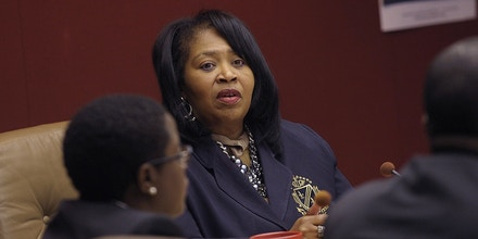 Brenda Jones speaks at a meeting in Auburn Hills, Mich., on Jan. 6, 2014.
