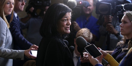 WASHINGTON, DC - SEPTEMBER 25:  U.S. Rep. Pramila Jayapal (D-WA) speaks to members of the media as she arrives at a House Democratic Caucus meeting at the U.S. Capitol September 25, 2019 in Washington, DC. House Democrats met to discuss their agenda one day after Speaker of the House Rep. Nancy Pelosi has announced a formal impeachment inquiry into President Donald Trump.  (Photo by Alex Wong/Getty Images)