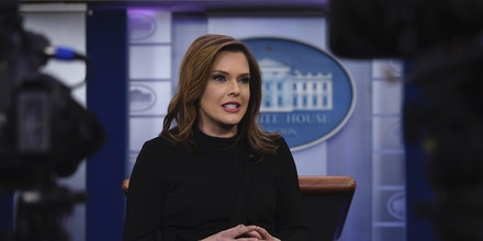Communications adviser Mercedes Schlapp does a television interview in the press briefing at the White House in Washington, Tuesday, Jan. 29, 2019. (AP Photo/Susan Walsh)