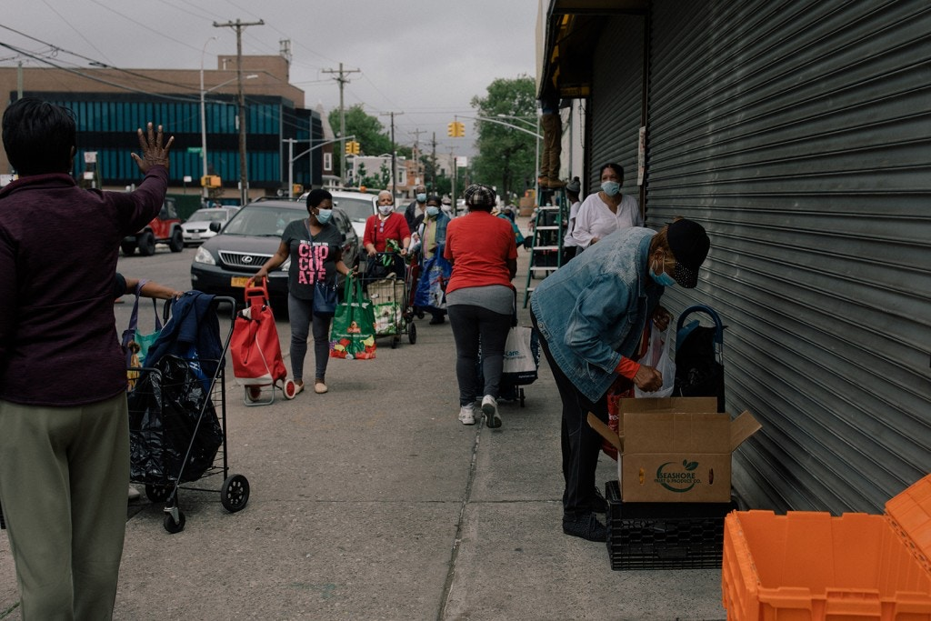 Under the instruction of Pastor Maureen Rush volunteers of the Children of the Light Food Pantry arrange boxes of various groceries for needy Canarsie residents, New York City, New York, U.S., May 29, 2020. José A. Alvarado Jr. for The Intercept