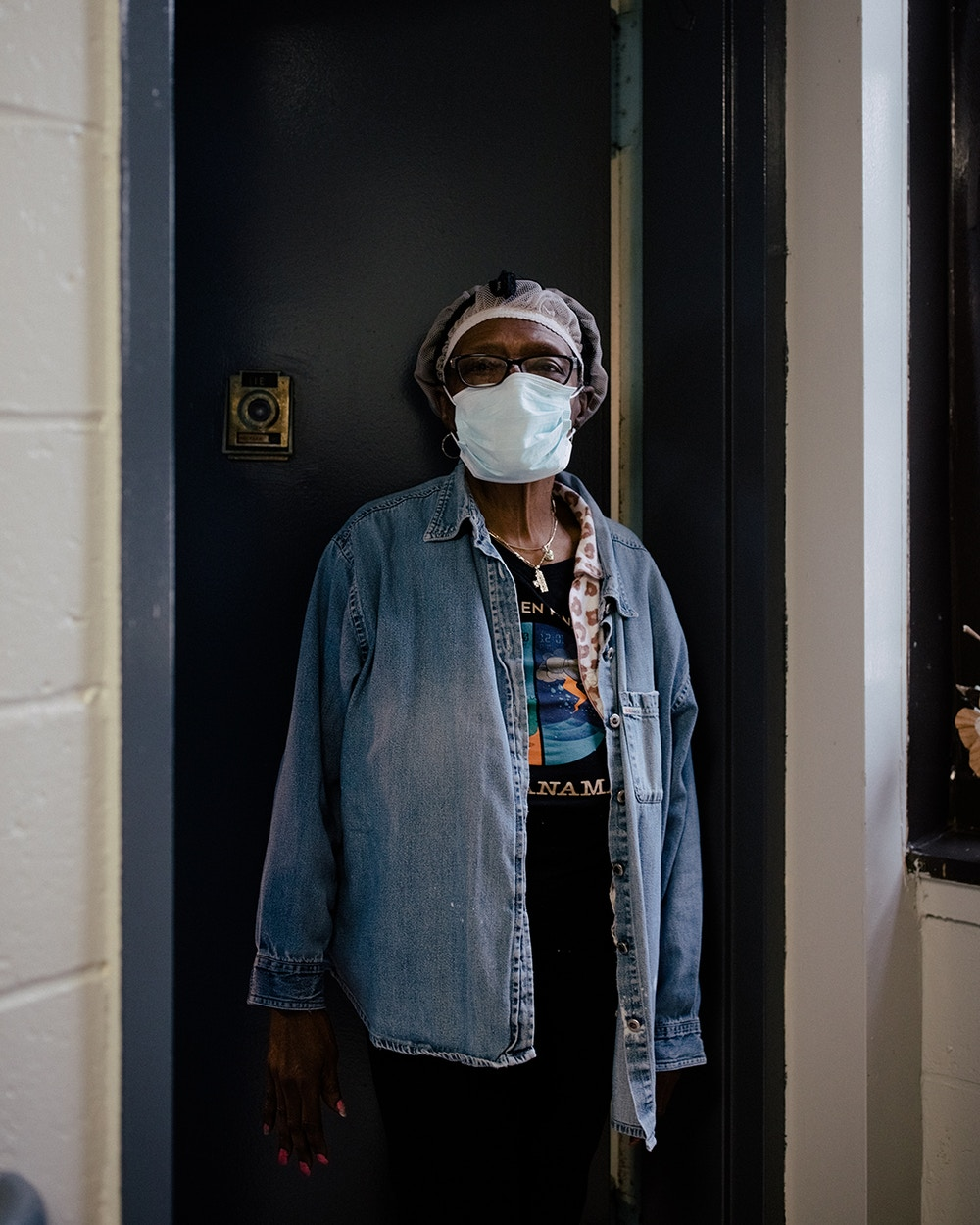 Annie Marcelle, a longtime resident at the Vandalia Avenue Houses, stands for a portrait outside of her 1st-floor residence in the senior-only housing in Canarsie, New York City, New York, U.S., May 29, 2020. José A. Alvarado Jr. for The Intercept