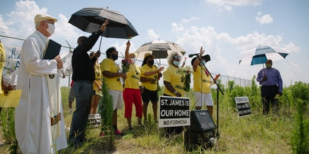 Juneteenth commemoration at a burial site for enslaved people, located in a field where Formosa plans to build one of its facilities.