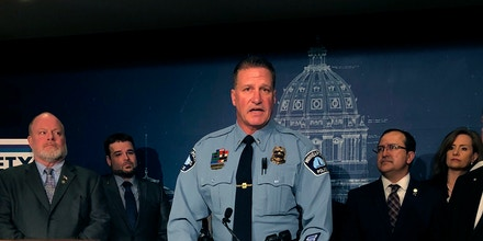 The president of Minneapolis Police Officers Federation, Lt. Bob Kroll, speaks at a news conference at the state Capitol in St. Paul, Minn., Feb. 17, 2020.