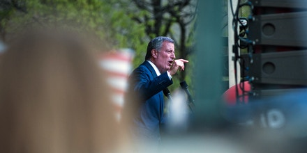 Bill de Blasio, mayor of New York City, speaks during the May Day protest in New York, U.S., on Monday, May 1, 2017. People took to the streets throughout the nation to rally for the rights of workers, union groups, and immigrants on International Worker's Day. Photographer: Kholood Eid/Bloomberg via Getty Images