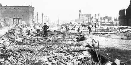 Six blocks of Walnut Street reduced to rubble from fires started during racial motivated riots in East St. Louis, Illinois.