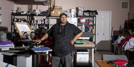K.B. Brown at his business, Wolfpack Promotionals, in Minneapolis, Minn., on Wednesday, May 20, 2020. Brown, a felon turned business owner, has had to lay off his employees and was not approved for the Paycheck Protection Plan. Photo by Jenn Ackerman @ackermangruber