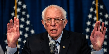 BURLINGTON, VT - MARCH 11: Sen. Bernie Sanders, I-Vt., U.S. 2020 Democratic Presidential Candidate addresses the media at Hotel Vermont during a press conference on Wednesday, March 11, 2020 in Burlington, VT. (Photo by Salwan Georges/The Washington Post via Getty Images)