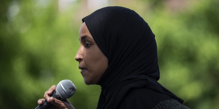 MINNEAPOLIS, MN - JUNE 6: Rep. Ilhan Omar (D-MN) speaks to a crowd gathered for a march to defund the Minneapolis Police Department on June 6, 2020 in Minneapolis, Minnesota. The march commemorated the life of George Floyd who was killed by members of the MPD on May 25. (Photo by Stephen Maturen/Getty Images)