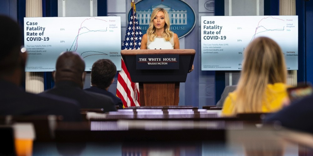 White House Press Secretary Kayleigh McEnany speaks during the press briefing at the White House in Washington, DC on July 6, 2020. (Photo by JIM WATSON / AFP) (Photo by JIM WATSON/AFP via Getty Images)