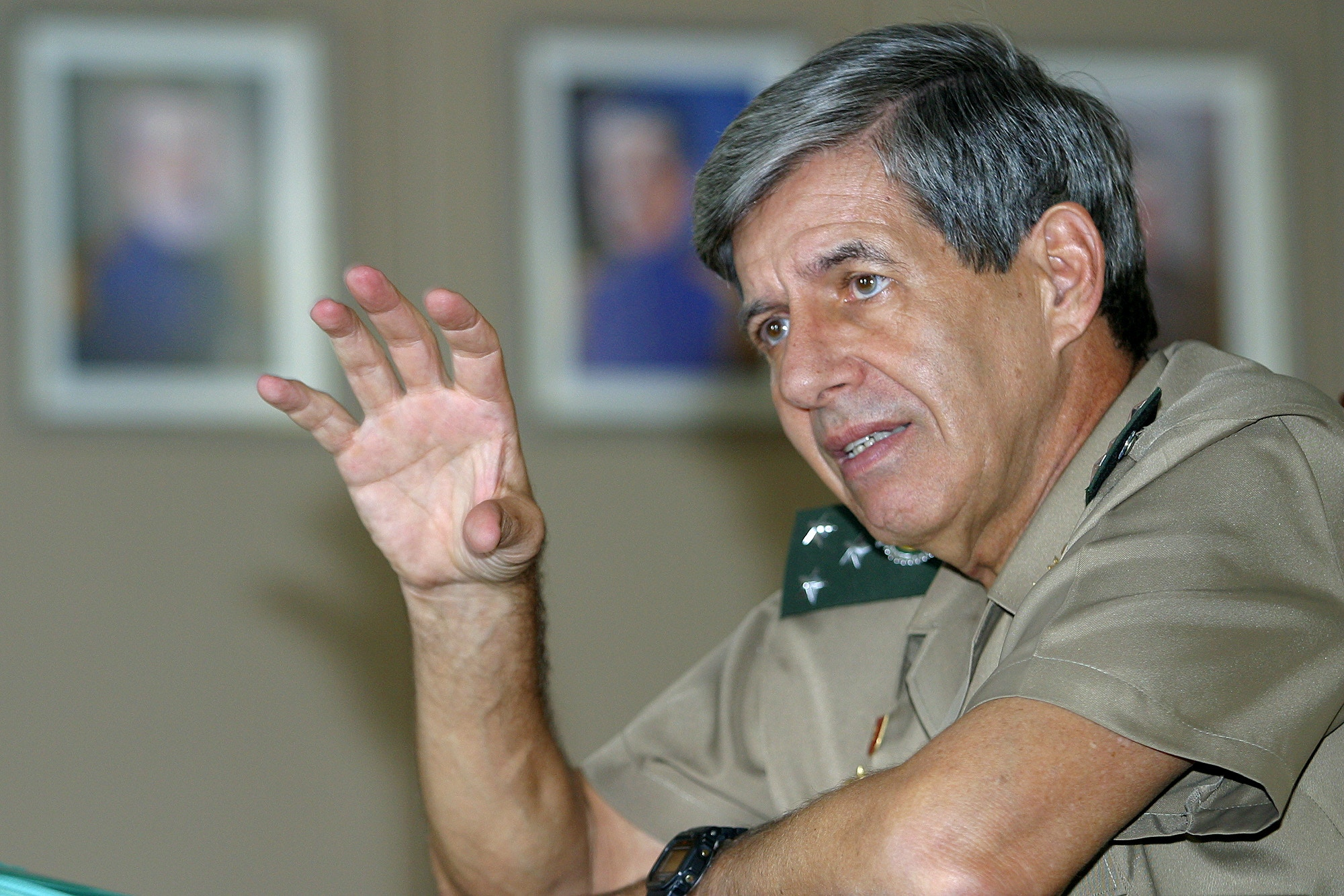 Brazilian general Augusto Heleno Ribeiro Pereira speaks during an interview in Brasilia, Monday, May 24, 2004. Pereira will lead the UN troops in Haiti starting next month. (AP Photo/Eraldo Peres)