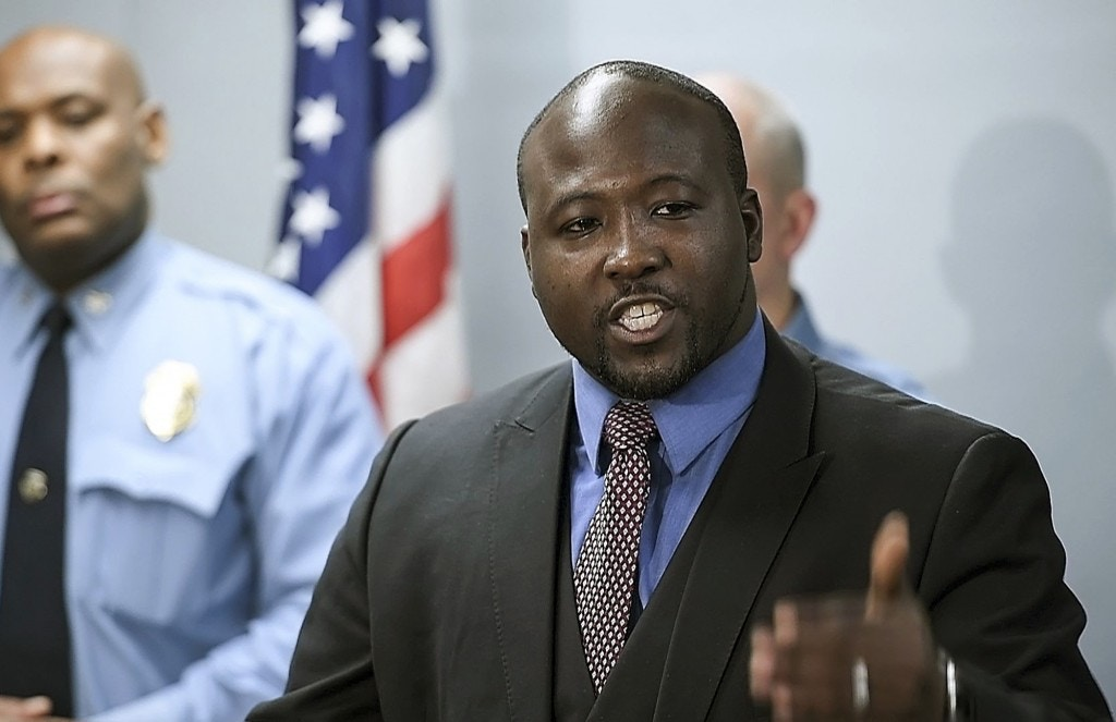 "In this March 14, 2017 photo, Wyandotte County District Attorney Mark A. Dupree, Sr. speaks at a news conference in Kansas City, Kan. After asking in October that charges against Lamonte McIntyre, convicted in a 1994 double murder, be dismissed because of ""manifest injustice,"" Dupree is establishing a conviction integrity unit within his office. He is also calling for an investigation into the now retired white police detective Roger Golubski that led the investigation against McIntyre who was imprisoned for 23 years on the conviction. (David Eulitt /The Kansas City Star via AP)"