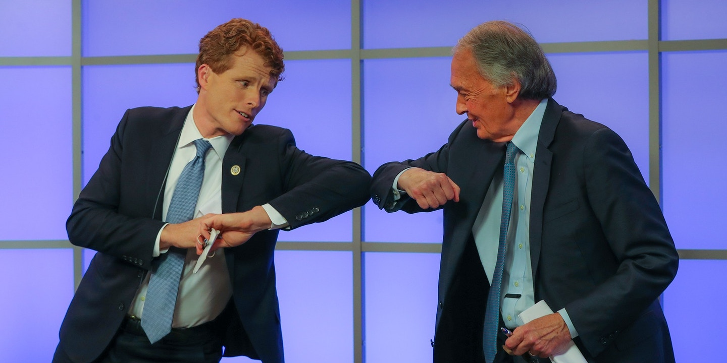 Rep. Joseph P. Kennedy III elbow bumps Sen. Edward J. Markey after their debate at the Western Mass News station on June 1, 2020, Springfield, MA.
