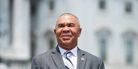 Rep. William Lacy Clay, does a television news interview outside the Capitol