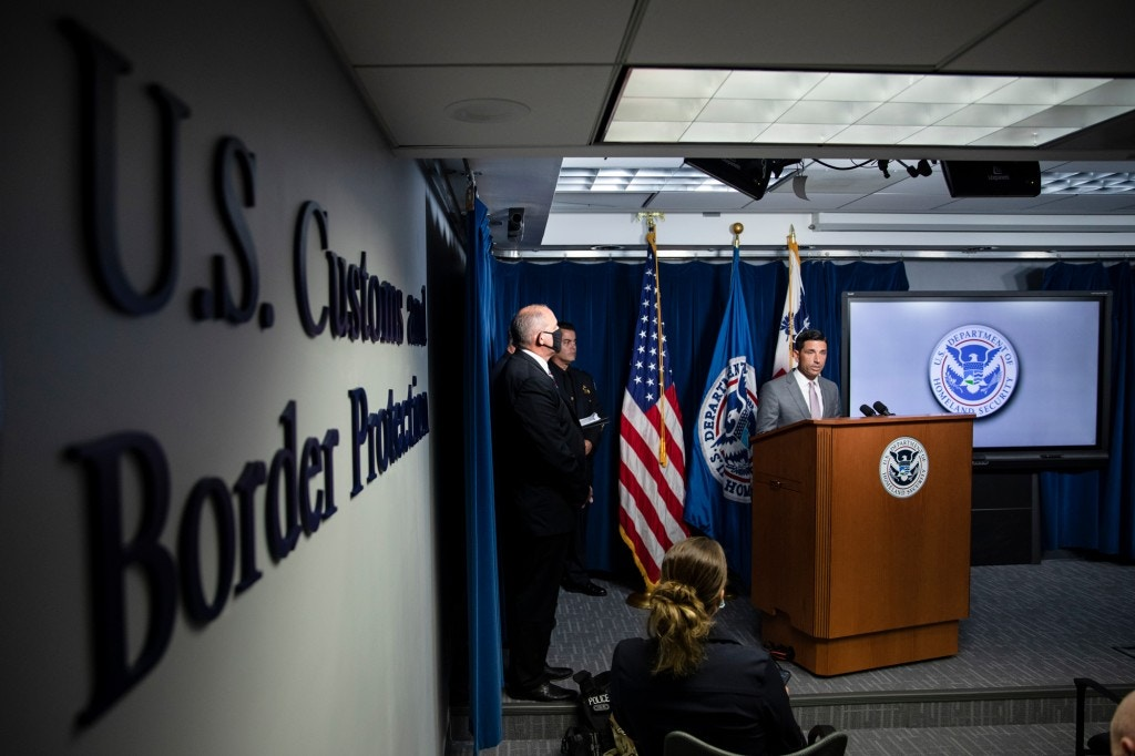 WASHINGTON, DC - JULY 21: Secretary of Homeland Security Chad Wolf speaks during a press conference on the actions taken by Customs and Border Protection and Homeland Security agents in Portland during continued protests at the US Customs and Border Patrol headquarters on July 21, 2020 in Washington, DC. (Photo by Samuel Corum/Getty Images)